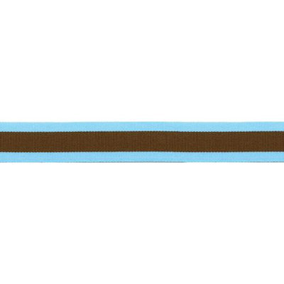 Offray Center Stripe Ribbon 7/8X9-Ocean & Brown