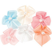 Offray Ribbon Bows w/Rose Center 40/Pkg-White 370438
