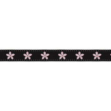 Offray Jacquard Daisy Ribbon 5/8X9-Lime & Pink