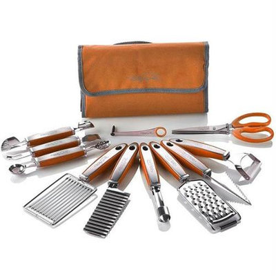 Wolfgang Puck 12 pc Garnish Essentials Set with Storage Case (Orange)
