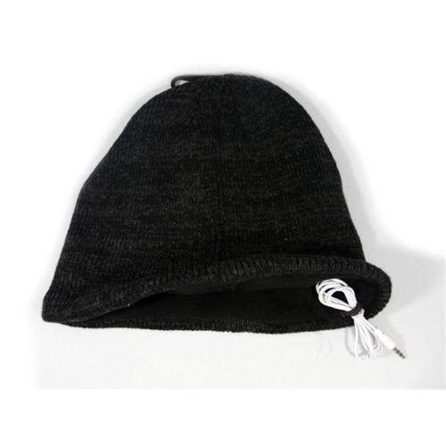 Music Muffs WIRED-SB-HAT-BK Wired Audio Toque Winter Cap Beanie - Black