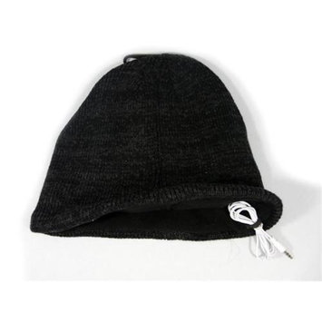 Music Muffs WIRED-SB-HAT-BK Wired Audio Toque Winter Cap Beanie - Black