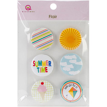 Queen & Co Summer Flair SelfAdhesive Tin Badges 6/Pkg