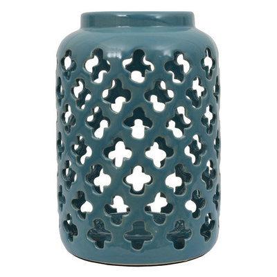Jhunt Floral Ceramic Quatrefoil Lantern
