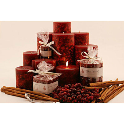 Mill Valley Candleworks Cinnamon Cranberry Scented Pillar Candles (Set of 3)