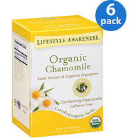 Tadin Tea Lifestyle Awareness Organic Chamomile Herbal Tea Supplement Tea Bags, 20 count, .63 oz, (Pack of 6)