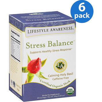 Tadin Tea Lifestyle Awareness Stress Balance Herbal Tea Supplement Tea Bags, 20 count, 1.05 oz, (Pack of 6)