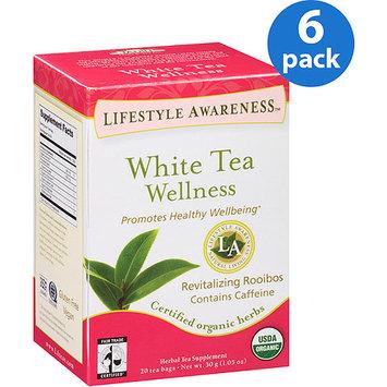 Tadin Tea Lifestyle Awareness White Tea Wellness Herbal Tea Supplement Tea Bags, 20 count, 1.05 oz, (Pack of 6)