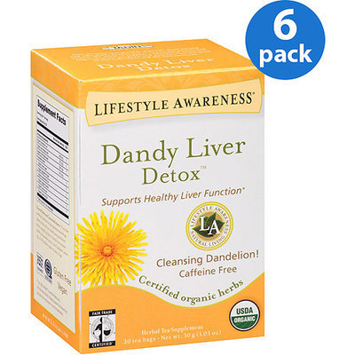 Tadin Tea Lifestyle Awareness Dandy Liver Detox Herbal Tea Supplement Tea Bags, 20 count, 1.05 oz, (Pack of 6)