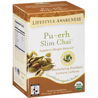 Tadin Tea Lifestyle Awareness Pu-erh Slim Chai Herbal Tea Supplement Tea Bags, 20 count, 1.05 oz, (Pack of 6)