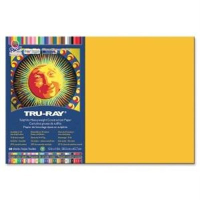 TRU-RAY CONSTRUCTION PAPER, 76 LBS, 12 X 18, GOLD, 50 SHEETS/PACK