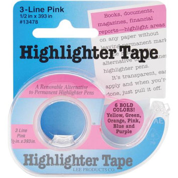 Lee Products 134-78 Highlighter Tape 1-2 in. x 393 in-Pink