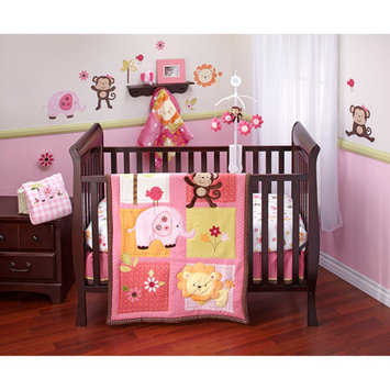 Crown Crafts Infant Products NoJo Raspberry Jungle 4-piece Crib Bedding Set