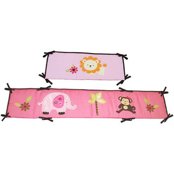 Crown Crafts Infant Products NoJo Little Bedding Raspberry Jungle Traditional Padded Bumper