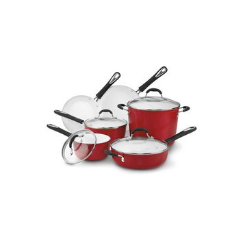 Cuisinart Red 10-pc. Elements Cookware Set + FREE Stainless Steel Bowls