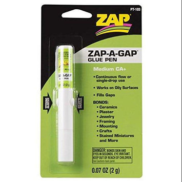 ZAP ADHESIVES PT103 Zap-A-Gap CA+ Glue Pen 2 grams PAAR1003 Zap Adhesives