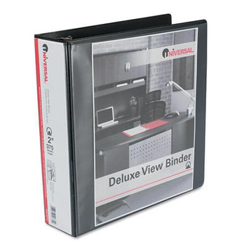 Universal Products Universal Office Products 20731 Deluxe Round Ring Vinyl View Binder 2 Capacity Black