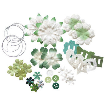 Blue Hills Studio Irene's Garden Potpourri Paper Flower and Embellishment Pack Color: Green