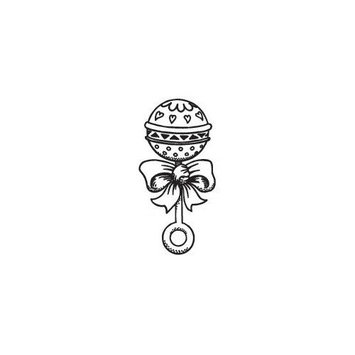 Sarasota Stamps Mounted Rubber Baby Rattle Stamp