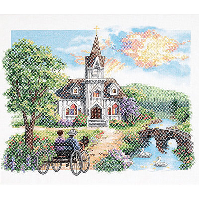 Dimensions Country Church Stamped Cross Stitch Kit
