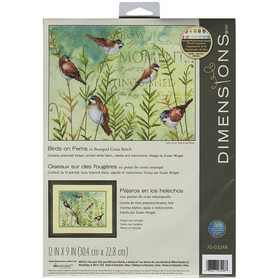 Dimensions Acquisition Llc Dimensions Birds On Ferns Stamped Cross Stitch Kit