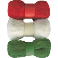 Dimensions Feltworks Roving Trio Pack 1.58oz-Red, White & Green