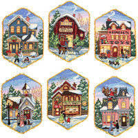 Dimensions Counted Cross Stitch Kit - Christmas Village Ornaments