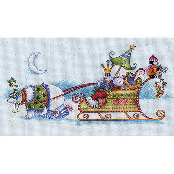Dimensions Acquisition Llc Dimensions Snow Bear and Sleigh Counted Cross Stitch Kit