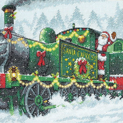 Dimensions Santa Express Counted Cross Stitch Kit-10inX10in 14 Count