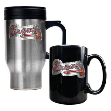 Great American Products Detroit Tigers MLB Stainless Steel Travel Mug & Black Ceramic Mug Set - Primary Logo