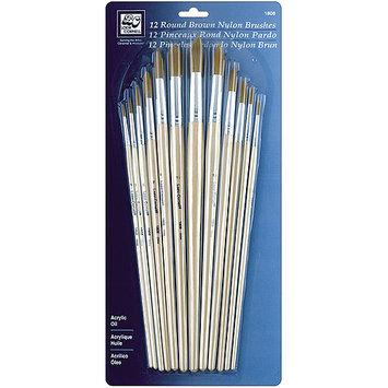 Loew-Cornell Round Brown Nylon Brush Set, 12-Pack