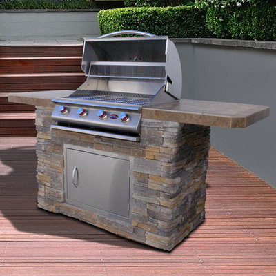 Lloyds Material Supply Co Cal Flame Bistro 7 ft. Natural Stone BBQ Island with Gas Grill