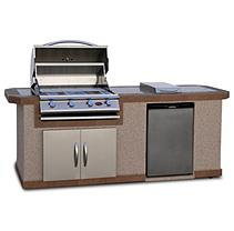 Cal Flame 8 ft. Stucco BBQ Island with Bar Depth Top and 4-Burner Gas Grill
