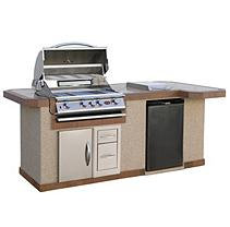 Cal Flame 8 ft. Stucco BBQ Island and Side Bar with 4-Burner Gas Grill