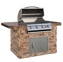 Cal Flame 6' Stone BBQ Island with Bar Depth Top and 4-Burner Gas Grill