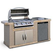 Cal Flame 7 ft. Stucco BBQ Island with 4-Burner Gas Grill and Built In Umbrella Stand