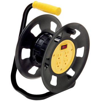 Coleman Cable 4-Outlet Retractable Extension Cord Reel