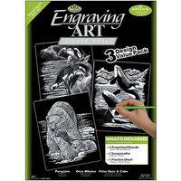 Engraving Art Value Packs 3/Pkg-Gold-Rhinoceros/Giraffe/Elephant