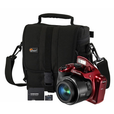 Samsung 16.2MP WB1100 Red Digital Smart Camera, Bag, 16GB microSD Card