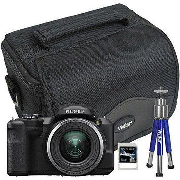 Fuji 16407145-4A-KIT FinePix S8600 16MP Digital Camera with 8GB SD Card Mini Tripod and Case (VIV-BTC-6)