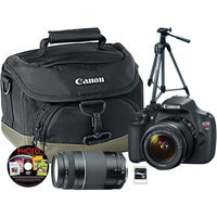 Canon EOS Rebel T5 D-SLR, 18-55mm, 75-300mm Lens, Tripod, Bag, DVD, 16GB SD
