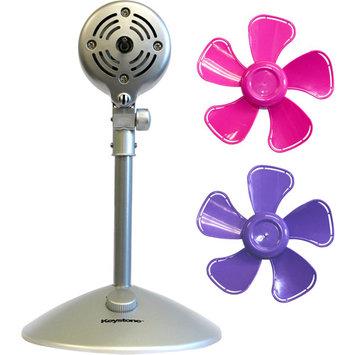 Keystone Fans 10 in. Flower Personal Fan with Interchangeable Blades in Pink and Purple KSTFF100APK