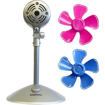 Keystone Fans 10 in. Flower Personal Fan with Interchangeable Blades in Blue and Pink KSTFF100AKB