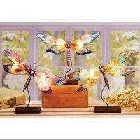 Cc Home Furnishings Set of 3 Pink, Purple & Green Dragonfly Capiz Shell Tea Light Candle Holders 13