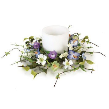 Melrose Pack of 3 Artificial Purple Cosmo, Trumpet & Lavender Flower Pillar Candle Rings