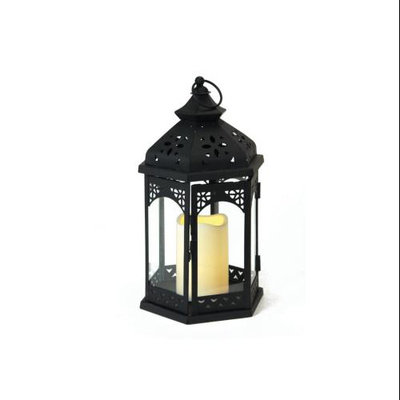 Melrose Pack of 3 Black Iron Lantern with LED Flameless Pillar Candle 12.75