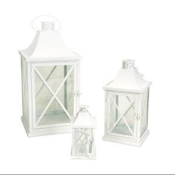 Melrose Set of 3 Decorative White Iron Candle Lanterns 19.5