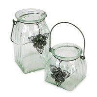 Melrose Pack of 4 Hanging Glass Jar Pillar Candle Holders with Flower Charm Accents