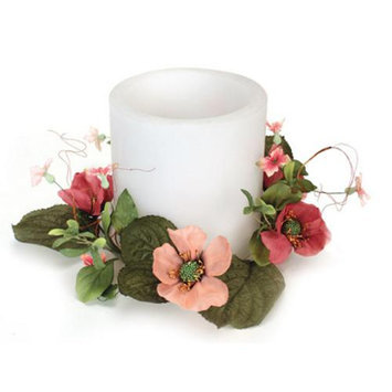 Melrose Pack of 4 Bright Pink Artificial Silk Poppy Flower Pillar Candle Rings 12