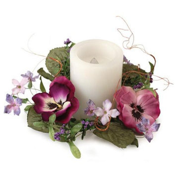 Melrose Pack of 6 Pink and Purple Artificial Silk Pansy Flower Pillar Candle Rings 9